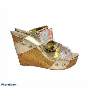 BCBGeneration Gold Multicolored Wedge Sandals-6/36